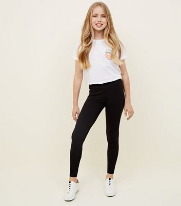 Girls Black High Waist Leggings