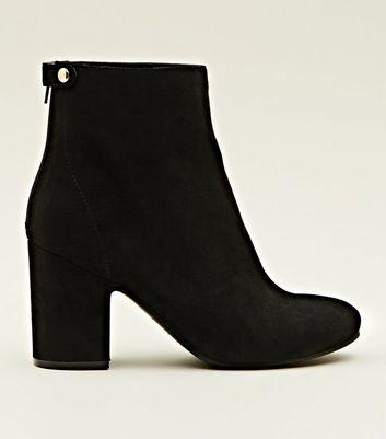 Black Suedette Block Heel Ankle Boots