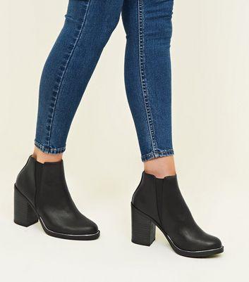 tan metal trim block heel ankle boots