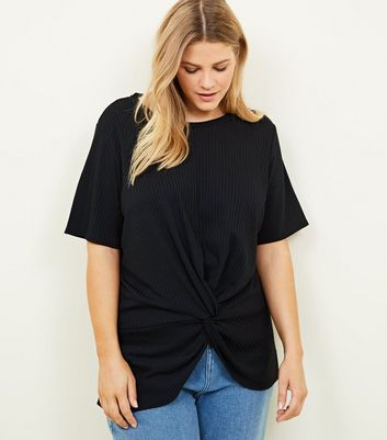 Curves Black Ribbed Twist Front T-Shirt