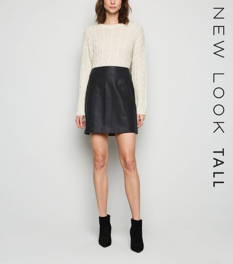 fd046a854fa ... Tall Black Leather-Look Mini Skirt ...