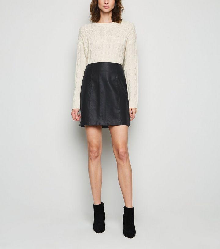 af5b9f71c8 Tall Black Leather-Look Mini Skirt | New Look