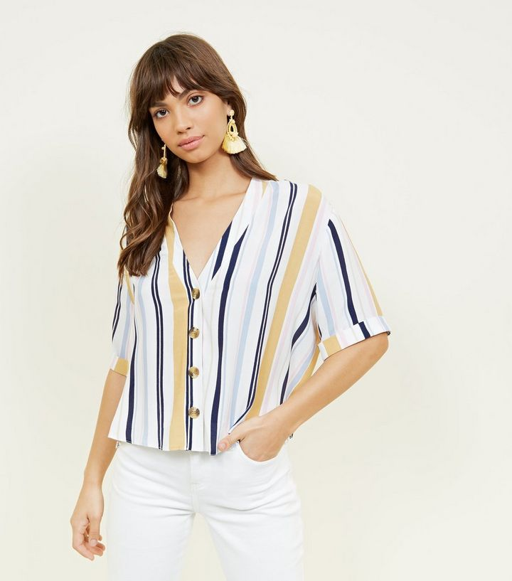 b72610b6e5 White Multi Stripe Button Front Shirt | New Look