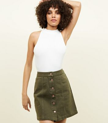 Khaki Button Front A-Line Denim Skirt
