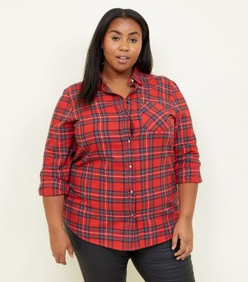 Curves Red Tartan Check Shirt