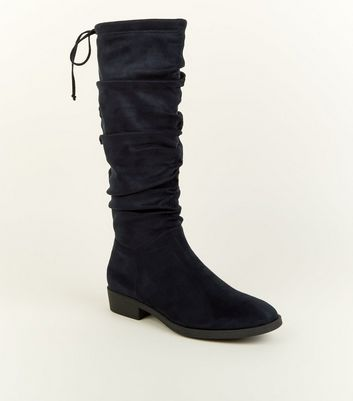 Navy Suedette Slouchy Knee High Boots
