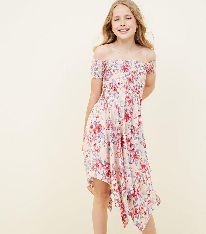 047d8467564a Girls Pink Tropical Print Hanky Hem Bardot Dress | New Look
