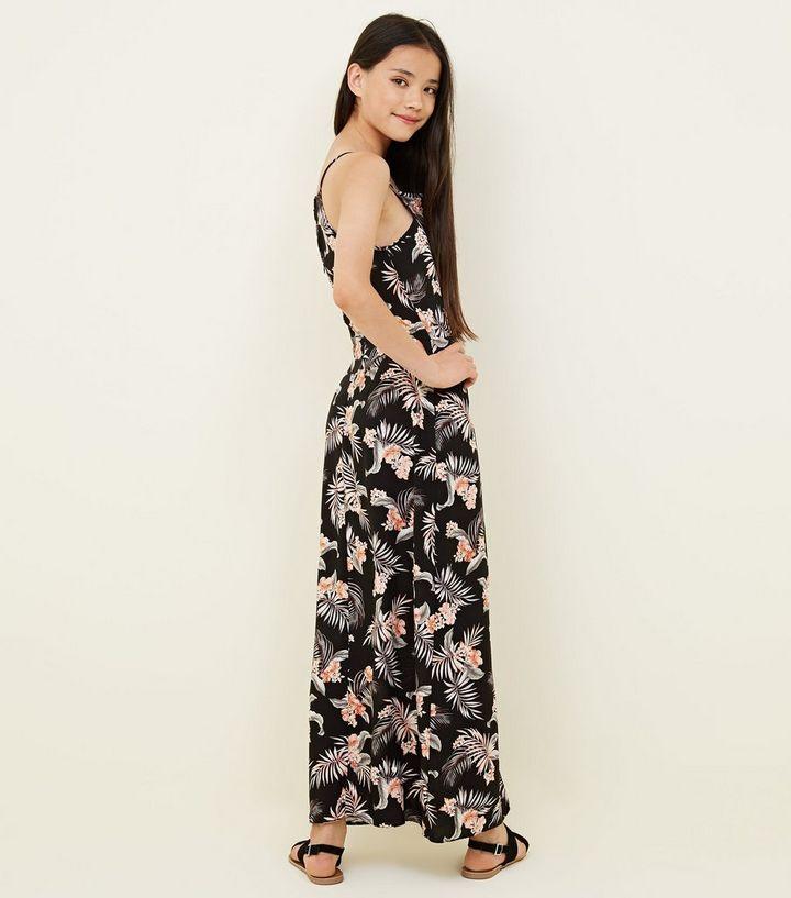 562df9cfdcd ... Girls Black Tropical Dip Hem Maxi Playsuit. ×. ×. ×. Shop the look