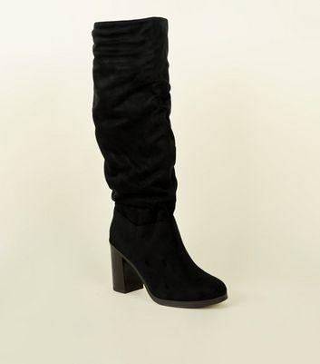 Black Block Heel Knee High Boots | New Look