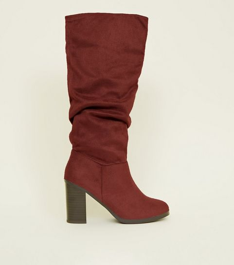 221348089c1 ... Dark Red Block Heel Knee High Boots ...