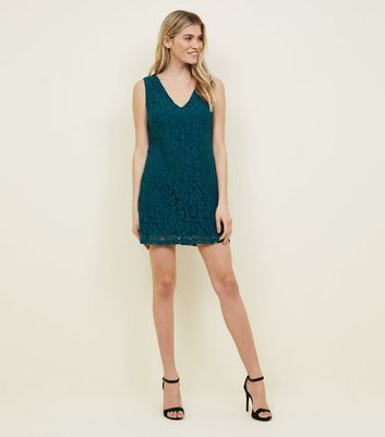 Apricot Green Floral Lace Dress New Look
