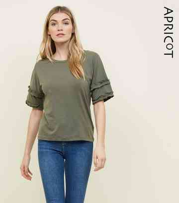 Apricot Khaki Frill Trim Sleeve Top