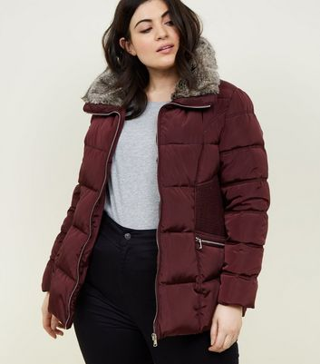 Curves Burgundy Faux Fur Collar Puffer Jacket