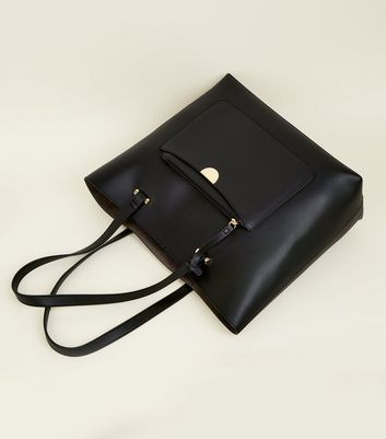 Black Leather-Look Tote Bag New Look