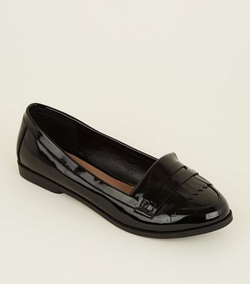 Wide Fit Black Patent Fringe Front Loafers