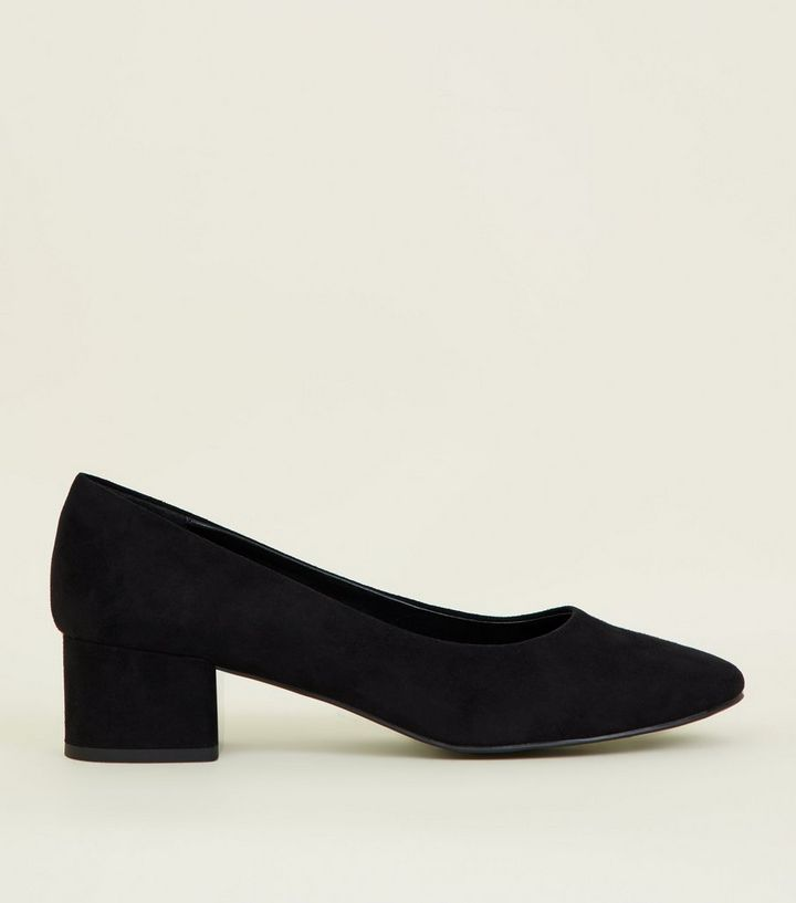 b3b1fdbd76 Black Suedette Block Heel Court Shoes | New Look