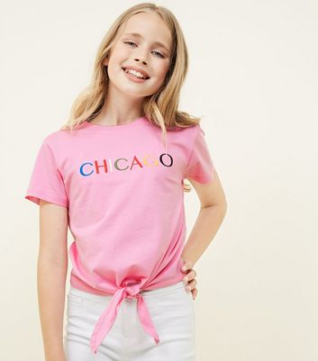 Girls Pink Chicago Embroidered Tie Front T-Shirt