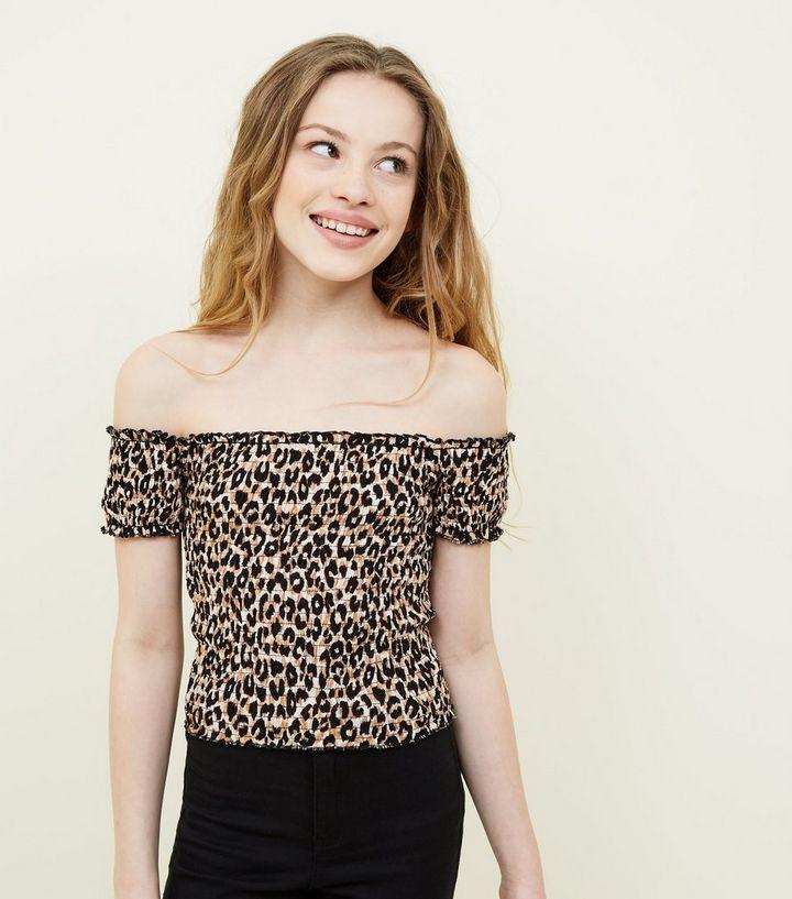 7a44dc3ab75913 Girls Brown Leopard Print Shirred Bardot Top | New Look