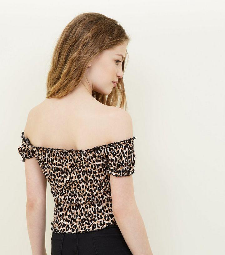 aa73a5cabd6839 ... Girls Brown Leopard Print Shirred Bardot Top. ×. ×. ×. Shop the look