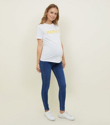 Maternity Bright Blue Emilee Over Bump Jeggings