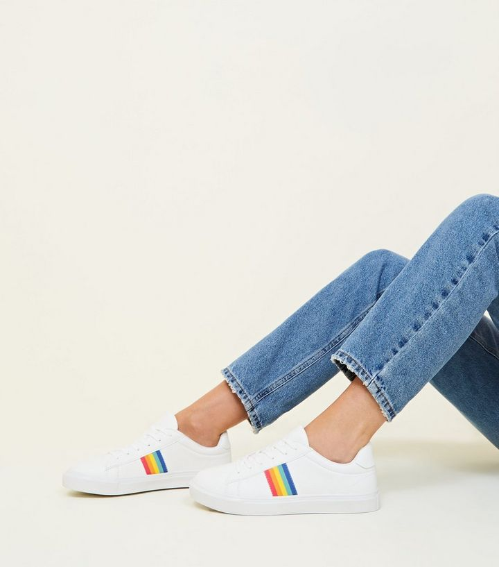 12853ea3f66cb ... White Rainbow Stripe Lace-Up Trainers. ×. ×. ×. Shop the look