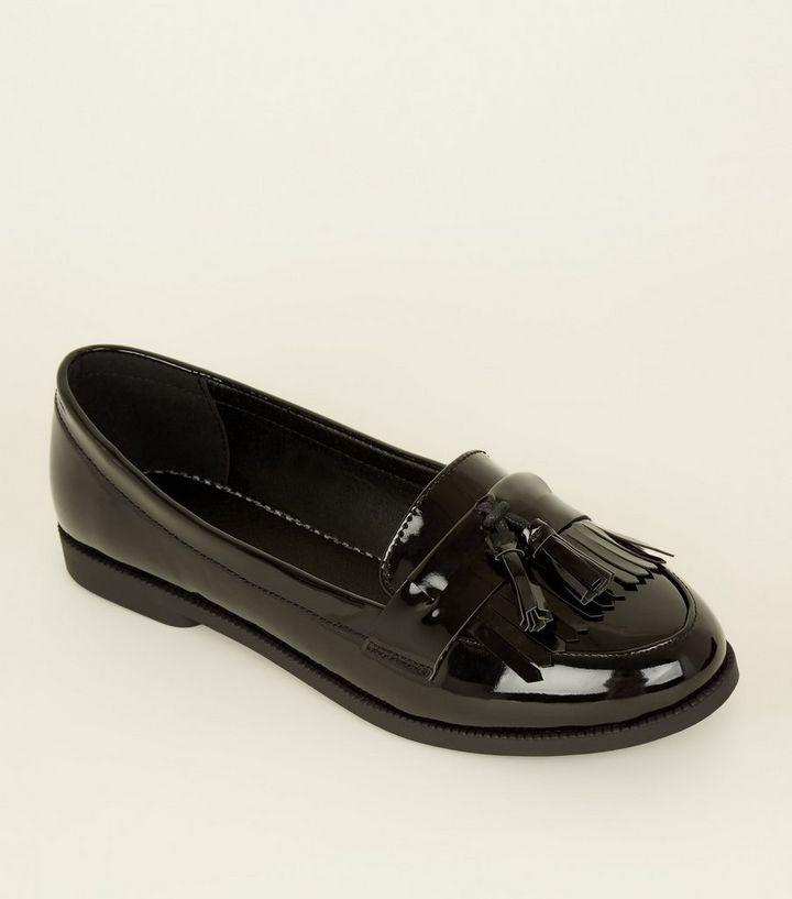 9fec5782200 Black Patent Tassel Fringe Trim Loafers
