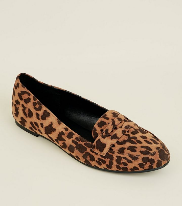 2a748441de6 Stone Leopard Print Penny Loafers   New Look