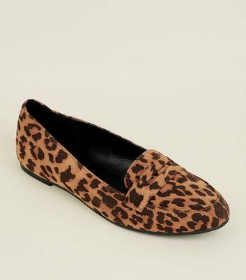 Stone Leopard Print Penny Loafers | New
