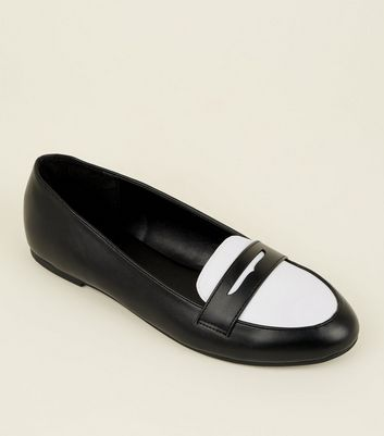 Monochrome Leather-Look Penny Loafers