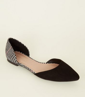 Black Woven Houndstooth Pointed Ballet Pumps