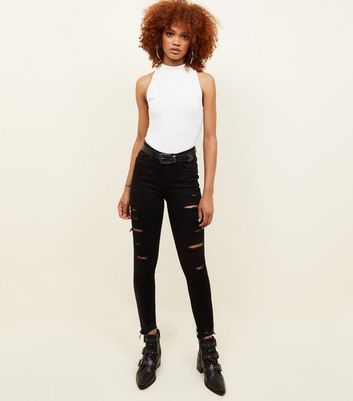 Black Ripped High Waist Super Skinny Hallie Jeans