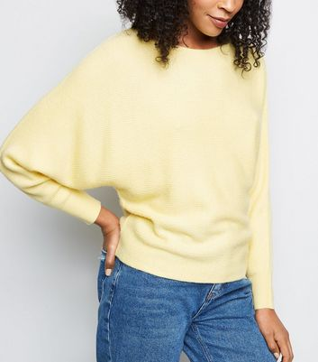 Pale Yellow Batwing Sleeve Jumper