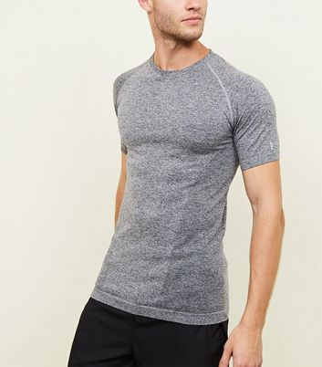 Dark Grey Raglan Sleeve Muscle Fit Sports T-Shirt