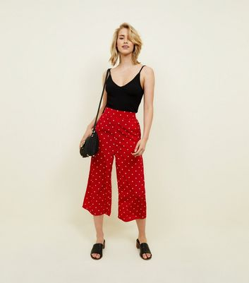 QED Red Spot Print Culottes New Look