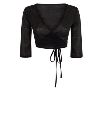 QED Black 3/4 Sleeve Wrap Shrug New Look