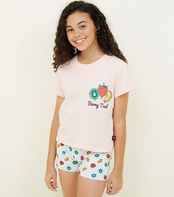 Girls Pink Berry Tired Pyjama Set
