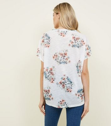 Apricot Cream Floral Zip Sleeve Top New Look