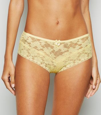 Pale Yellow Lace Brazilian Briefs