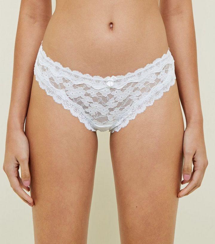 2e99a696b153 White Scalloped Lace Thong | New Look