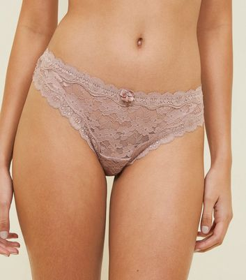 Mink Scalloped Lace Thong