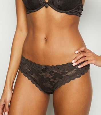 Dark Brown Scalloped Lace Thong