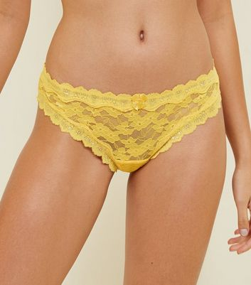 Mustard Scalloped Lace Thong