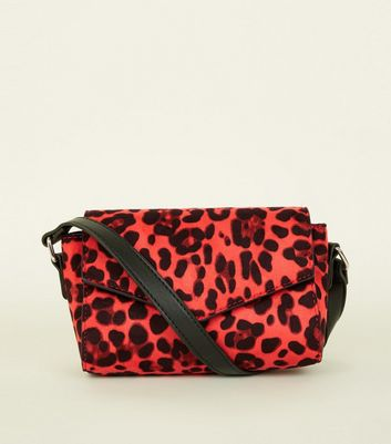 Red Leopard Print Cross Body Bag