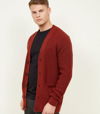 Rust Tuck Stitch Knit Button Front Cardigan