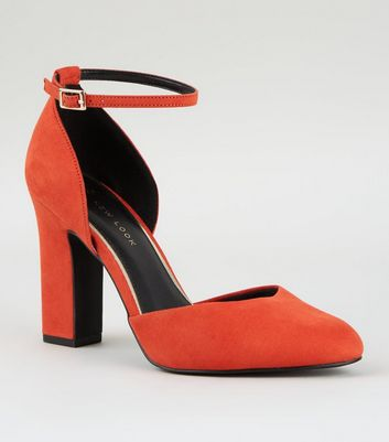 Wide Fit Orange Suedette Black Heels