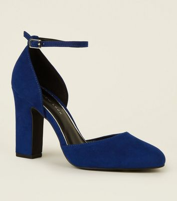 Wide Fit Blue Suedette Block Heel
