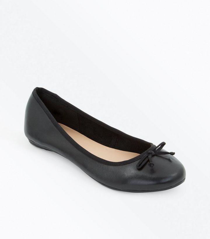 5c4ae17a706 Wide Fit Black Leather Ballet Pumps