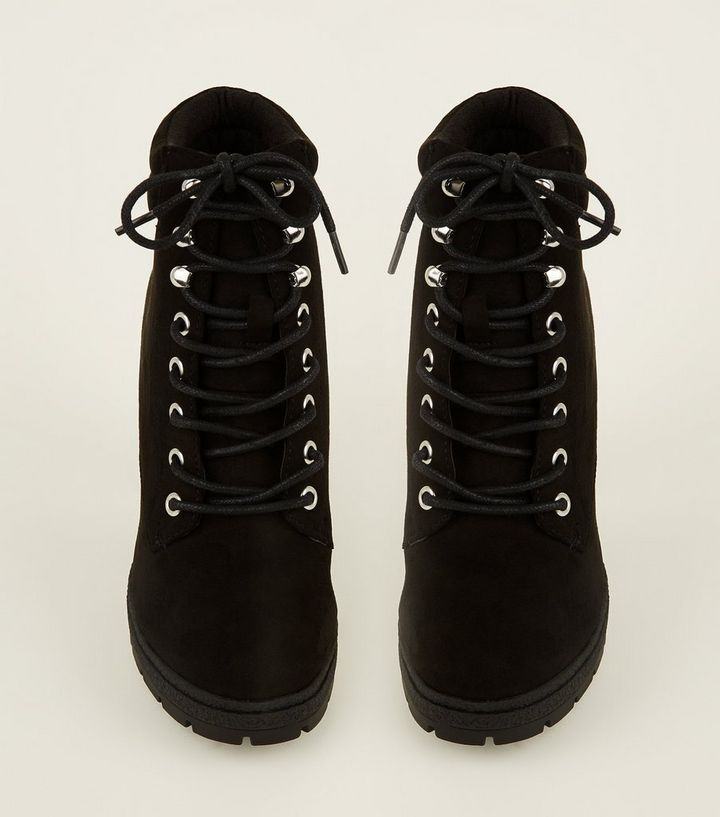 dea8f12ae3b Wide Fit Black Suedette Block Heel Hiker Boots Add to Saved Items Remove  from Saved Items