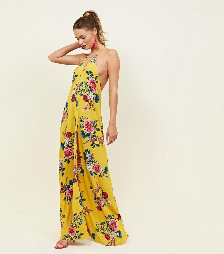 0da55eb2ce5d QED Yellow Floral Halterneck Open Back Maxi Dress | New Look