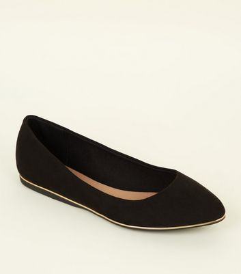 Wide Fit Black Piped Edge Pointed Pumps